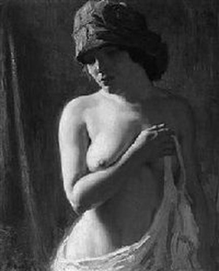 arthur kampf -  jungen Frau mit Kopftuch