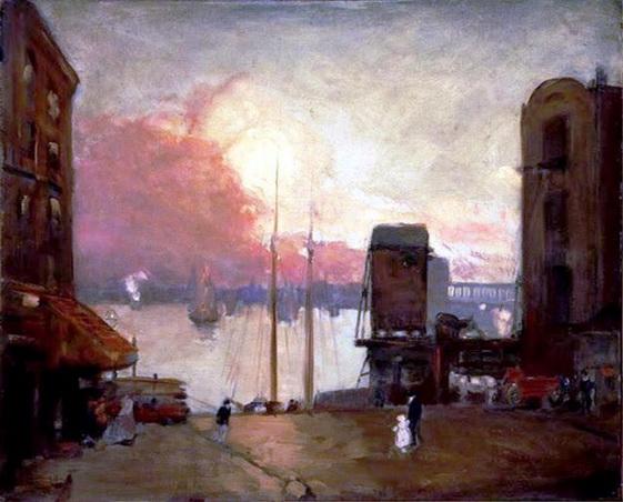 Robert Henri  Cumulus Clouds, East River, NYC 1901-02