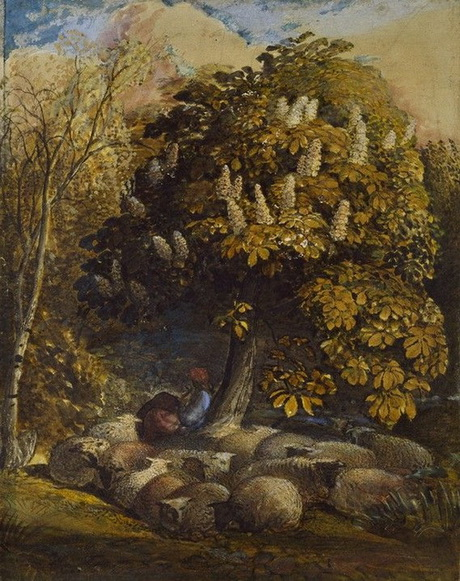 Samuel Palmer - Pastoral with a Horse-Chestnut Tree