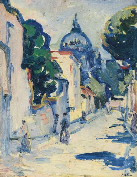 Samuel John Peploe Figures in a Street, Montmartre
