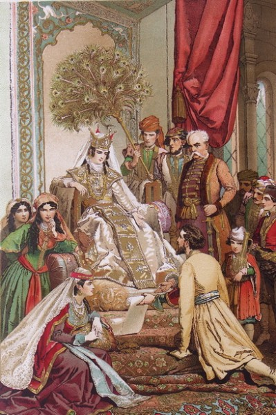 Михай фон Зичи - Шота Руставели преподносит свою поэму «Вепхис ткаосани» царице Тамаре