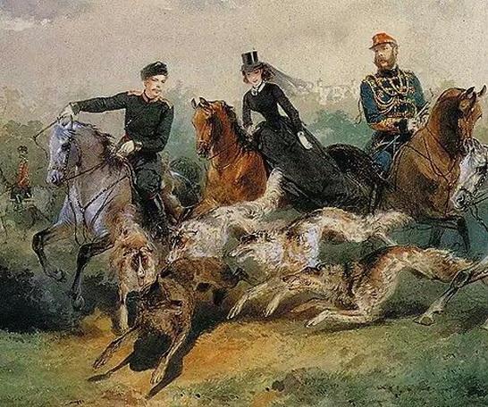 М. Зичи - Семья Александра II на псовой охоте