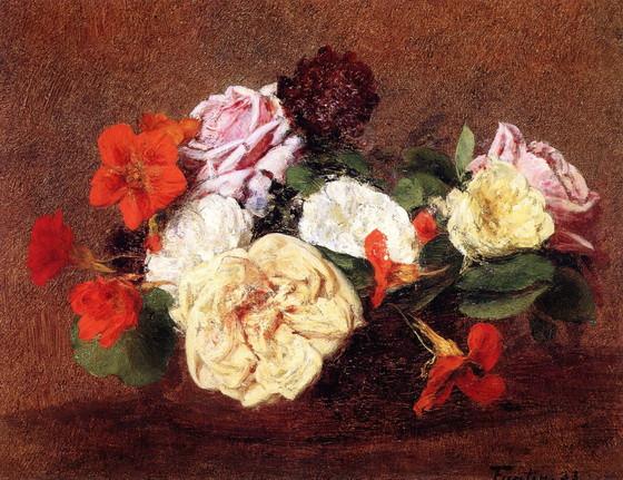 Henri Fantin-Latour - Bouquet of Roses and Nasturtiums