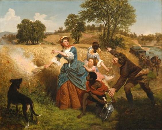 Emanuel Leutze - Mrs. Schuyler Burning Her Wheat Fields on the Approach of the British