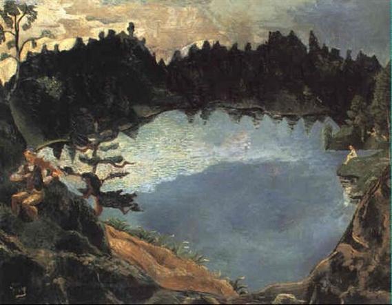 Per Lasson Krohg - Romantisk sceneri ved bjergs