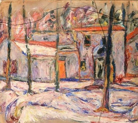 Abraham Manievich - Winter Village Scene