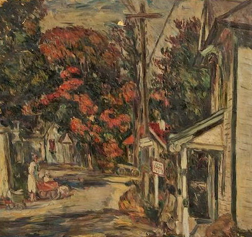 Abraham Manievich - Town Scene with Bus Stop