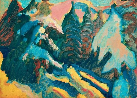 Wassily Kandinsky -  Kochel, Snowy Trees, 1909