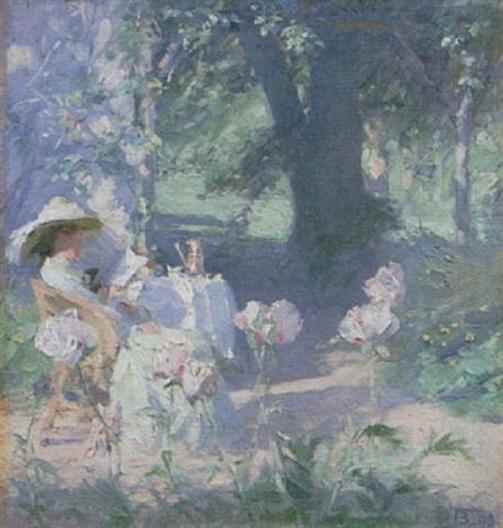 Frank Bramley -   Mrs Bramley in the garden at Grasmere
