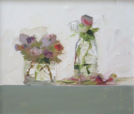 Mike Service - anemones in jar and milk bottle