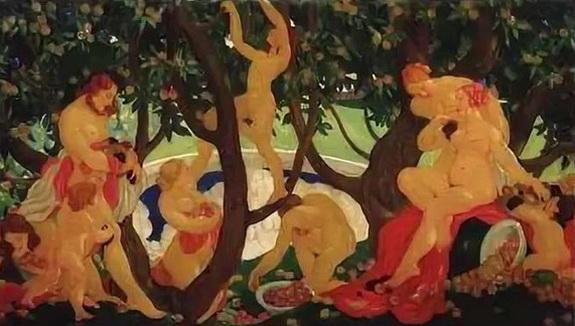 Яковлев В.А .-  Cбор яблок (Gathering Apples). 1917