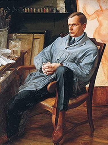 Яковлев А.  -  Портрет Василия Шухаева в его студии 1928