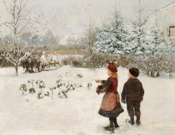 Hans Andersen Brendekilde - To born fodrer fugle i sneen