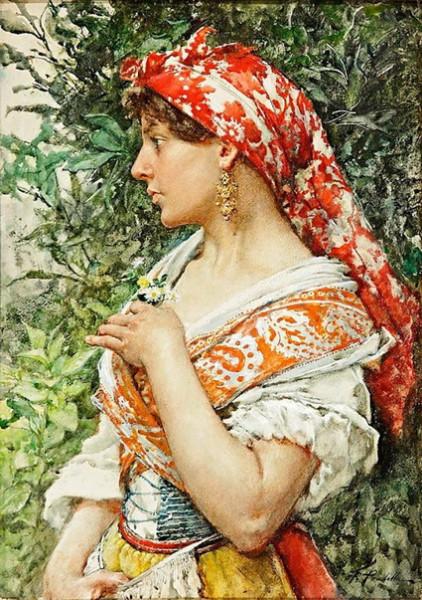 Francisco de Pradilla Ortiz - Young woman italian