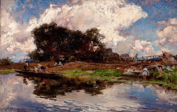 Francisco de Pradilla Ortiz - Manana de verano, en las paludes Pontinas