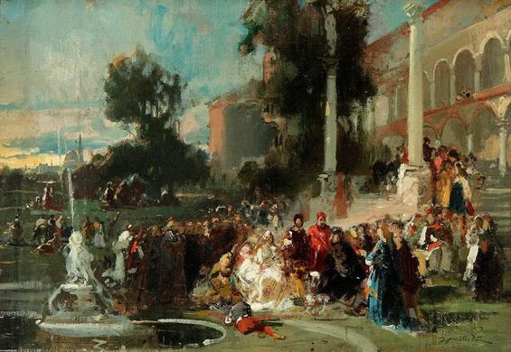 Francisco de Pradilla Ortiz - Fiesta en el jardin