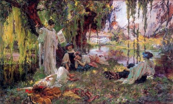 Francisco de Pradilla Ortiz - Lectura de Anacreonte (1904)