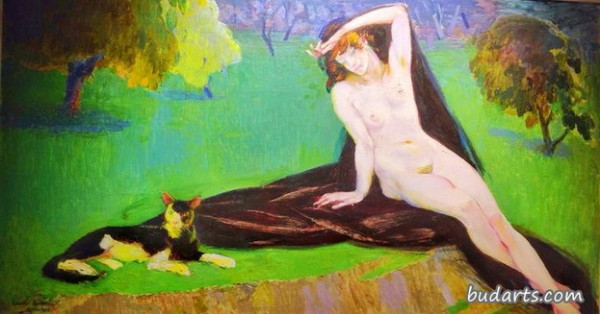 Amedeo Bocchi - Nude with Cat