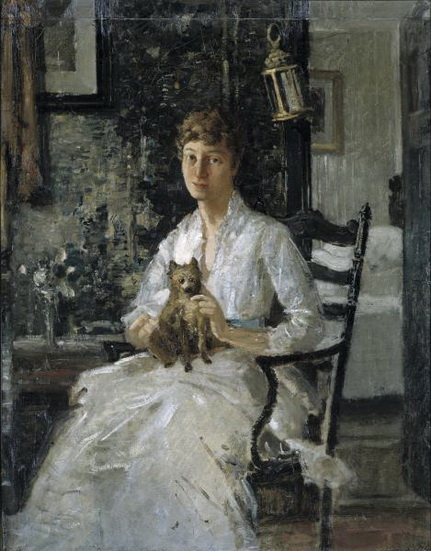 Julian Alden Weir - Portrait of a Lady with a Dog