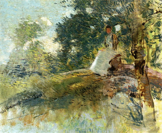 Julian Alden Weir - Landscape with Seated Figure