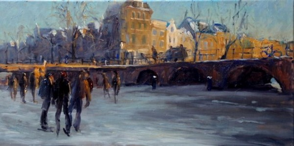 Piet van de Hoef - Brouwersgracht in de winter