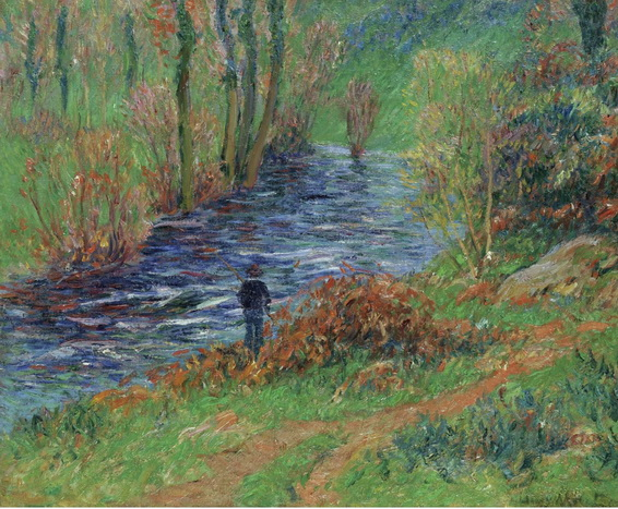 Henri Moret - fisher on the bank of the river 1904