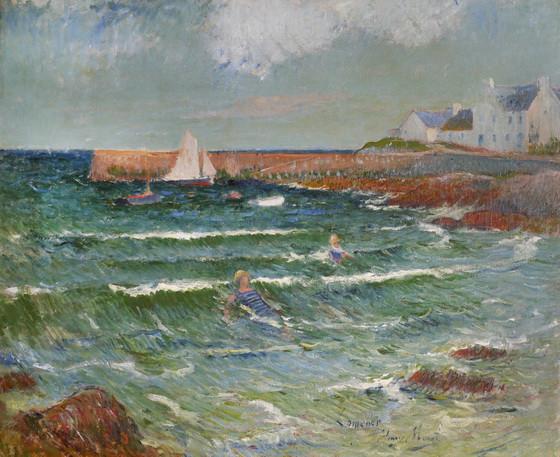 Henri Moret - Baignade en mer a Lomener