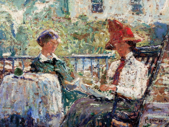 Ernest Lawson - Artist's Wife and Daughter