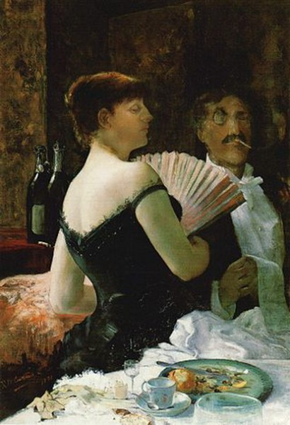 Ralph Curtis - James McNeill Whistler at a Party