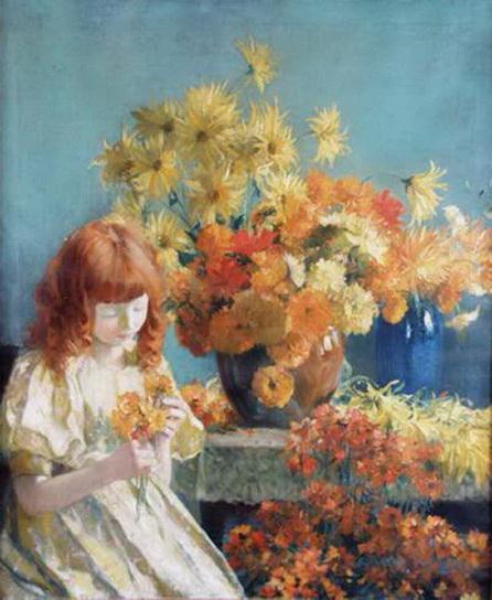 francis coates jones - Girl with Flowers