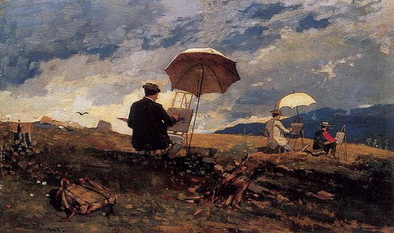 homer winslow - Artists Sketching in the White Mountains