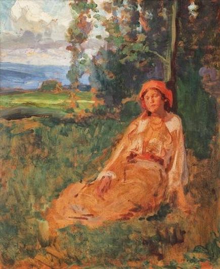Nicolae Vermont - Peasant in the grass par