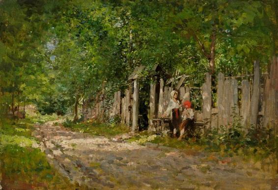 Nicolae Grigorescu - Girls Working by the Gate