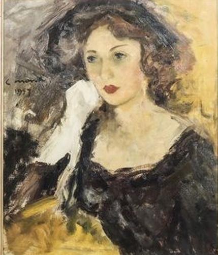 Cesare Monti - Ritratto femminile con guanti bianchi