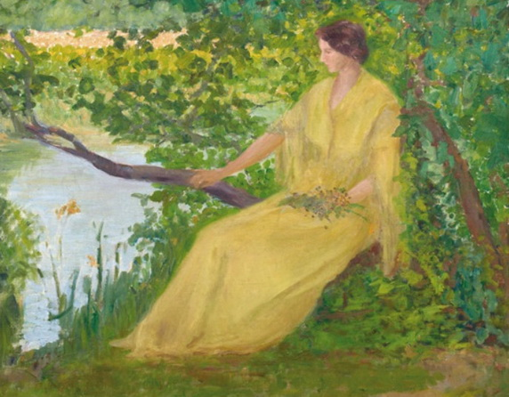 Robert Vonnoh  - Lady on the banks of the Loing