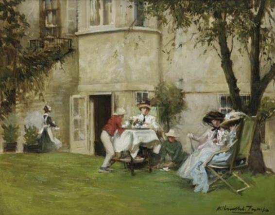 Albert Chevallier Tayler - Tea in the garden