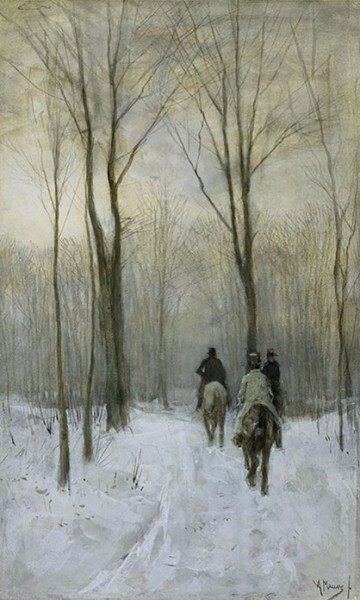 Anton Mauve - Riders in the Snow in the Haagse Bos