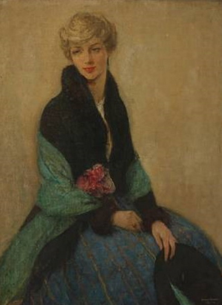 Ernest Borough Johnson - A young woman holding a rose