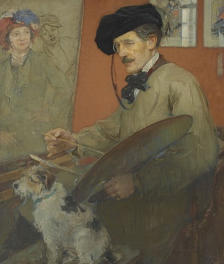 Ernest Borough Johnson - Portrait of the artist and his dog