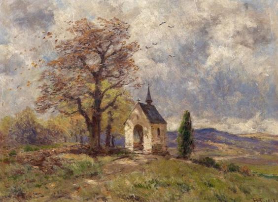Hans Thoma - Landschaft mit Kapelle