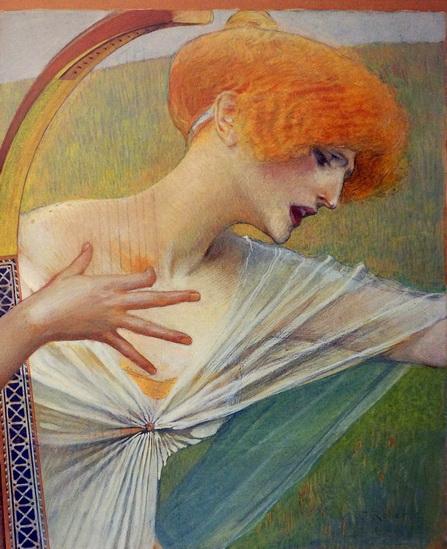 leo paul robert - Woman with a Harp