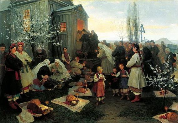 Николай Пимоненко - Easter morning prayer in Malorosia