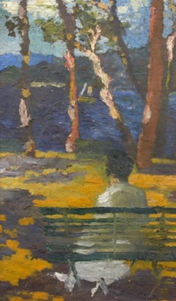 Jean Peske  - Jeune femme assise au bord du lac