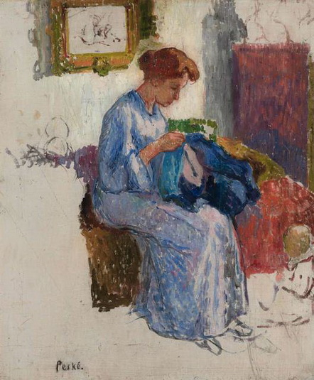 Jean Peske  - Jeune Femme Cousant