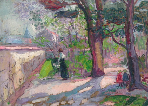Jean Peske  - Madame Peske et ses enfants au jardin