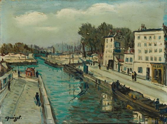 Alphonse Quizet -  Sur les bords du canal Sain Martin