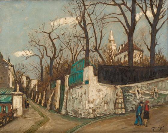 Alphonse Quizet - Rue a Montmartre Huile sur isorel