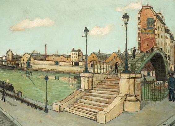 Alphonse Quizet - Vue de la passerelle de la rue de Crimee