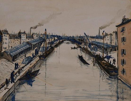 Alphonse Quizet -  Le canal Saint-Martin gouache
