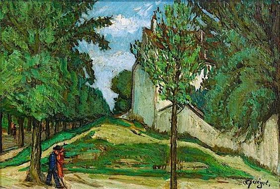Alphonse Quizet -  ALLEE AVEC PERSONNAGES